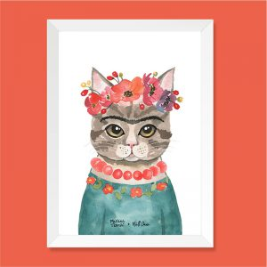 Quadro Aquarela Gata Frida Moldura Branca | Wall Done