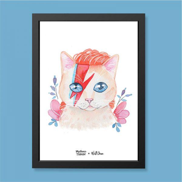 Quadro Aquarela Gato David Bowie Moldura Preta | Wall Done