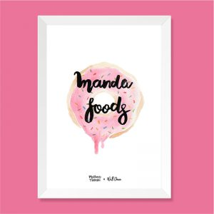 Quadro Aquarela Manda Foods Moldura Branca | Wall Done