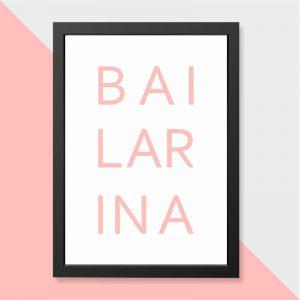 Quadro Bailarina Moldura Preta | Wall Done