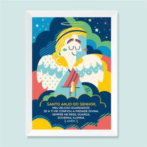 Quadro Santo Anjo Moldura Branca | Wall Done
