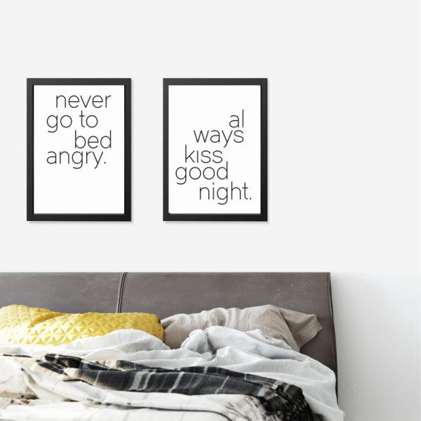 Quadros Quarto de Casal Bed Kiss Moldura Preta Ambientado 2 | Wall Done