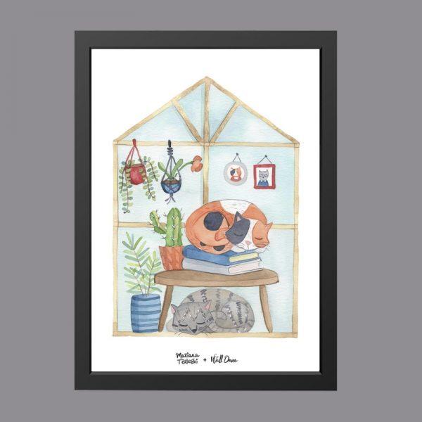 quadro-aquarela-gatos-dormindo-moldura-preta | Wall Done