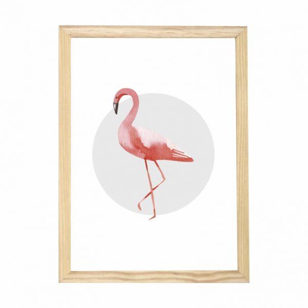 quadro-flamingo-moldura-pinus-walldone