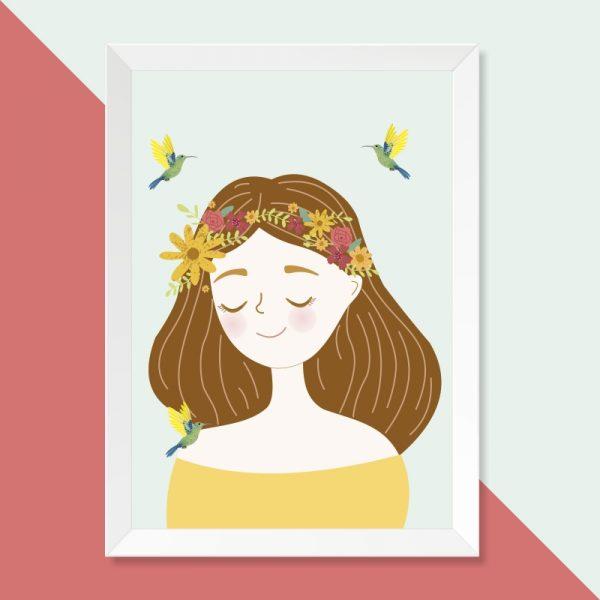 quadro-menina-flores-moldura-branca-walldone