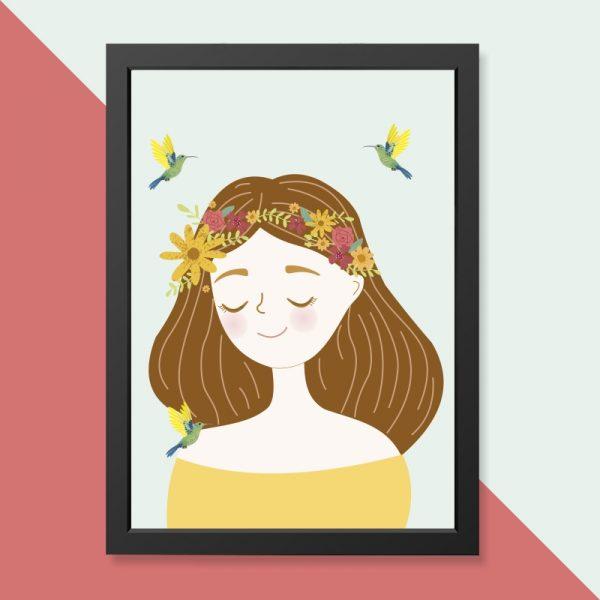 quadro-menina-flores-moldura-preta-walldone