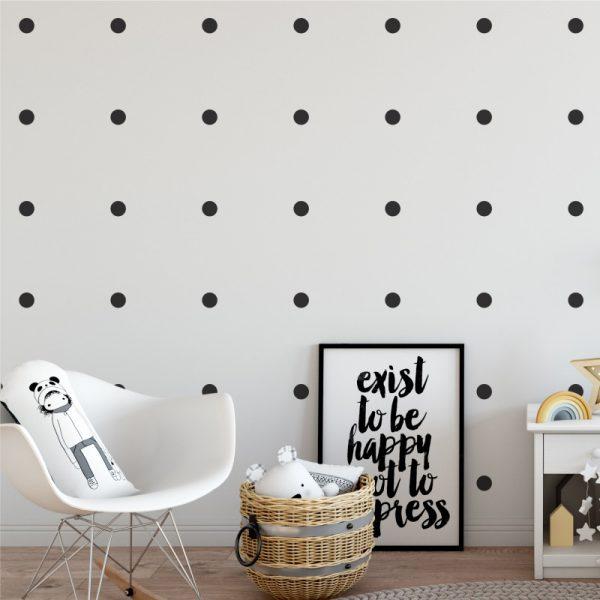 Adesivo de Parede Bolas Pretas Ambientado | Wall Done