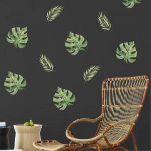 Adesivo de Parede Folhas Aquarela Ambientado | Wall Done