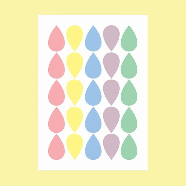 Adesivo de Parede Gotas Candy Colors Cartela | Wall Done
