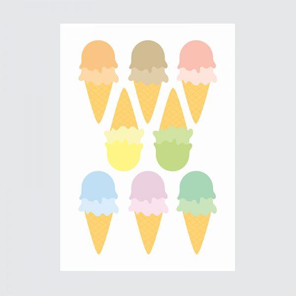 Adesivo de Parede Sorvetes Candy Colors Cartela   Wall Done