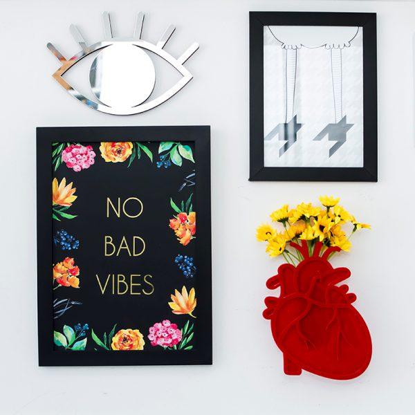 Espelho de Parede Olho Prata Ambientado | Wall Done