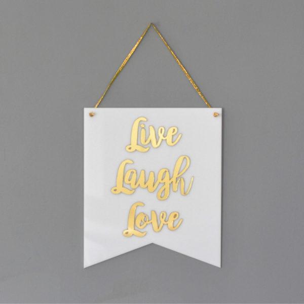 Flâmula Acrílico Live Laugh Love Branca   Wall Done