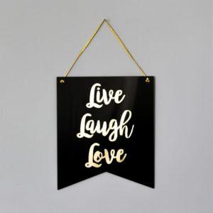 Flâmula Acrílico Live Laugh Love Preta | Wall Done
