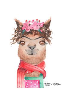 Pôster Aquarela Alpaca Frida   Wall Done