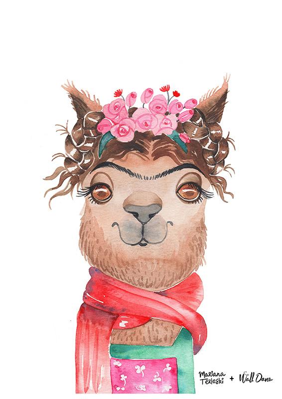 Pôster Aquarela Alpaca Frida | Wall Done