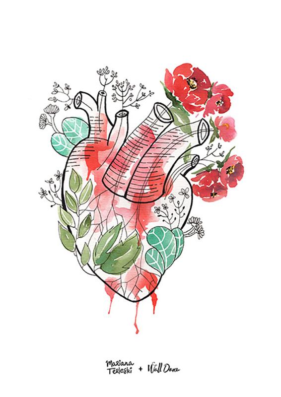 Pôster Aquarela Coração | Wall Done