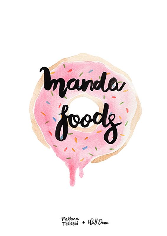 Pôster Aquarela Manda Foods | Wall Done