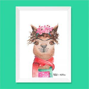 Quadro Aquarela Alpaca Frida Moldura Branca | Wall Done