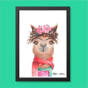 Quadro Aquarela Alpaca Frida Moldura Preta | Wall Done