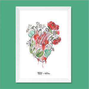 Quadro Aquarela Coração Moldura Branca | Wall Done