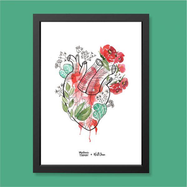Quadro Aquarela Coração Moldura Preta | Wall Done
