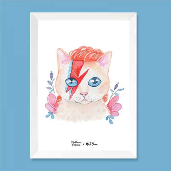 Quadro Aquarela Gato David Bowie Moldura Branca | Wall Done