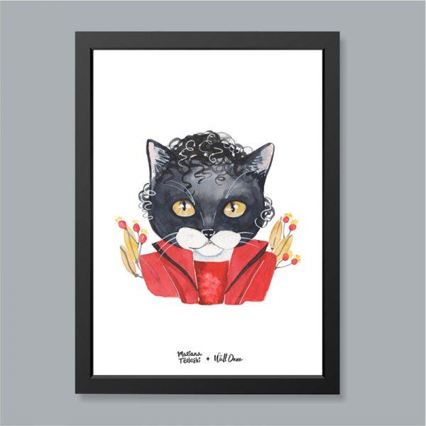 Quadro Aquarela Gato Michael Jackson Moldura Preta | Wall Done