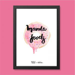 Quadro Aquarela Manda Foods Moldura Preta | Wall Done