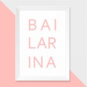 Quadro Bailarina Moldura Branca | Wall Done