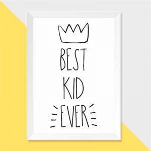 Quadro Best Kid Ever Moldura Branca | Wall Done
