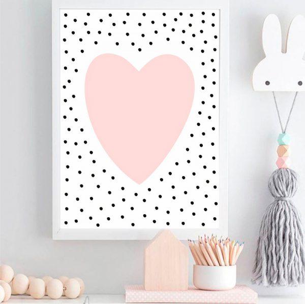 Quadro Coração Bolinhas Moldura Branca Ambientado | Wall Done