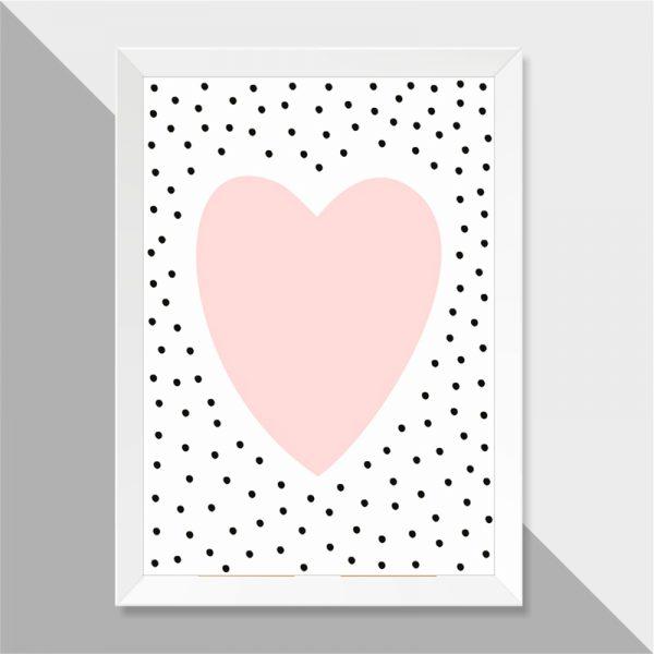 Quadro Coração Bolinhas Moldura Branca | Wall Done