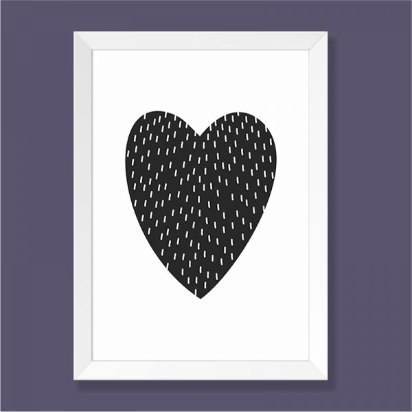 Quadro Coração Moldura Branca | Wall Done