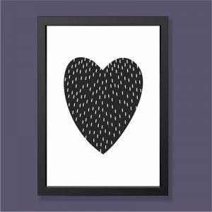 Quadro Coração Moldura Preta | Wall Done