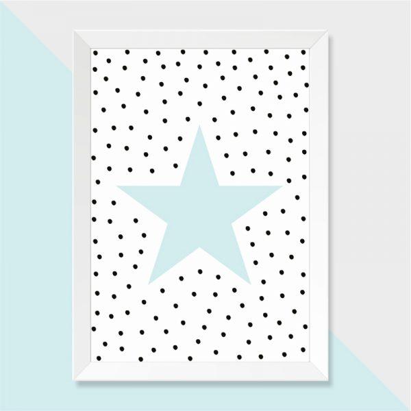 Quadro Estrela Moldura Branca | Wall Done