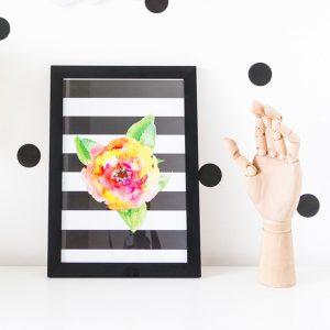 Quadro Flor Aquarela Ambientado | Wall Done