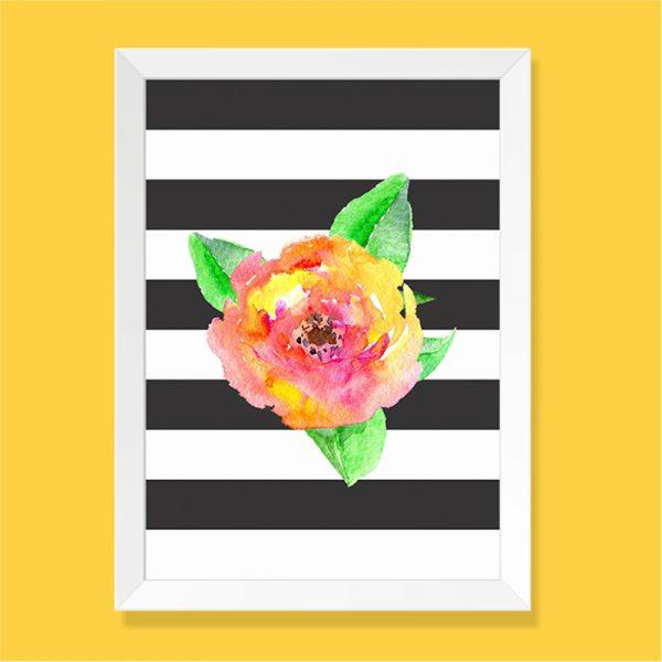 Quadro Flor Aquarela Moldura Branca | Wall Done