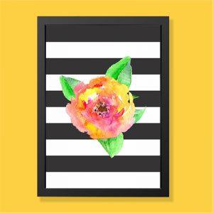 Quadro Flor Aquarela Moldura Preta | Wall Done