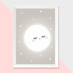 Quadro Lua Moldura Branca | Wall Done