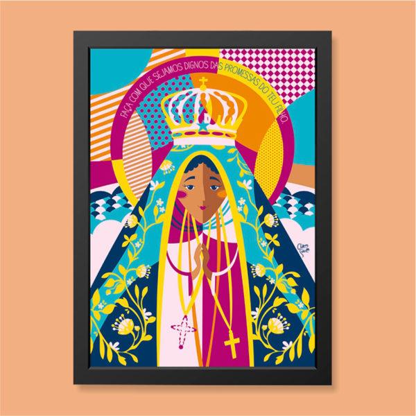 Quadro Nossa Senhora Aparecida Moldura Preta | Wall Done