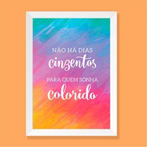 Quadro Sonhos Coloridos Moldura Branca | Wall Done