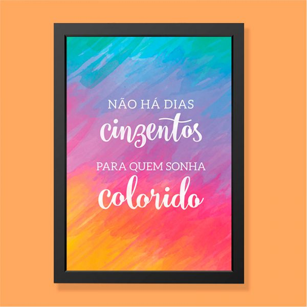 Quadro Sonhos Coloridos Moldura Preta | Wall Done