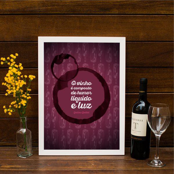 Quadro Vinho Moldura Branca Ambientado | Wall Done