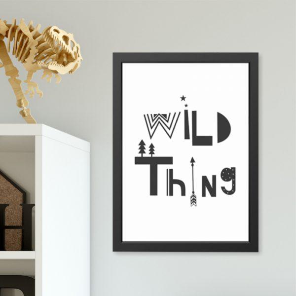 Quadro Wild Thing Moldura Preta Ambientado | Wall Done
