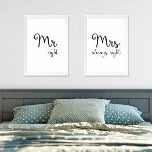 Quadros Quarto Casal Mr. e Mrs. Right Moldura Branca Ambientado | Wall Done