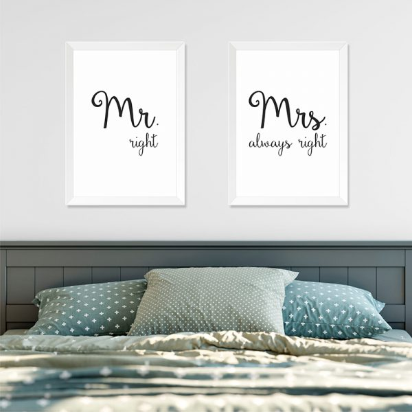 Quadros Quarto Casal Mr. e Mrs. Right Moldura Branca Ambientado | Wall Done