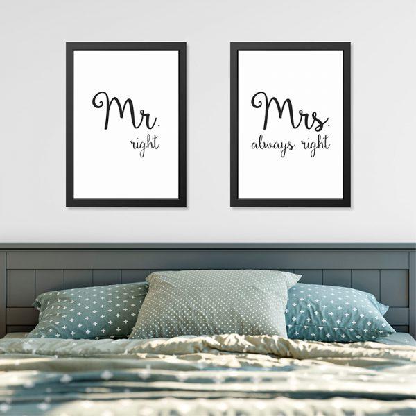 Quadros Quarto Casal Mr. e Mrs. Right Moldura Preta Ambientado | Wall Done