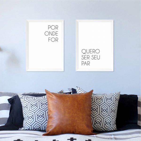 Quadros Quarto Casal Par Moldura Branca Ambientado | Wall Done
