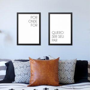 Quadros Quarto Casal Seu Par Moldura Preta Ambientado | Wall Done