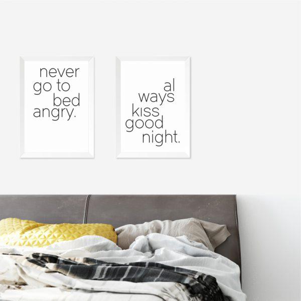 Quadros Quarto de Casal Bed Kiss Moldura Branca Ambientado 2 | Wall Done